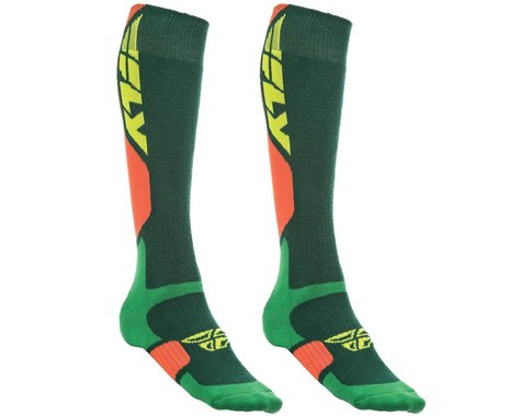 Fly Racing MX Pro Thick Socks (Green/Orange) (S/M)