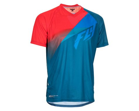 Fly Racing Super D Jersey (Dark Teal/Cyan/Red) (M)