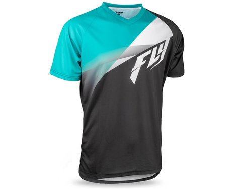 Fly Racing Super D Jersey (Black/White/Teal) (L)