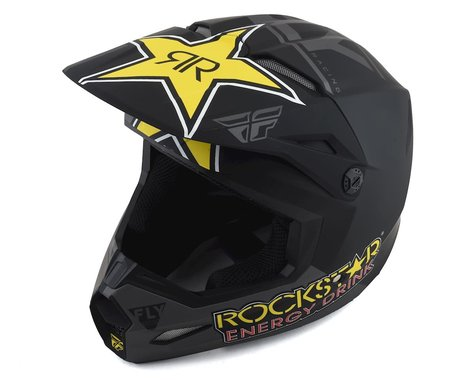 Fly Racing Kinetic Rockstar Helmet (Matte Grey/Black/Yellow) (S)