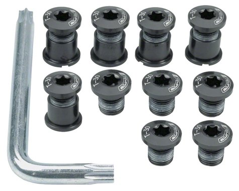 FSA Torx T-30 Alloy Mountain Chainring Nut/Bolt Set w/ Tool (Black)