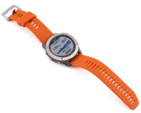 Garmin Fenix 6 Sapphire (Ti Gray w/ Orange Fenix 6 Quick Fit Wristband)