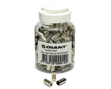 Giant 5mm Brass Brake Housing Ferrules (Silver) (200)