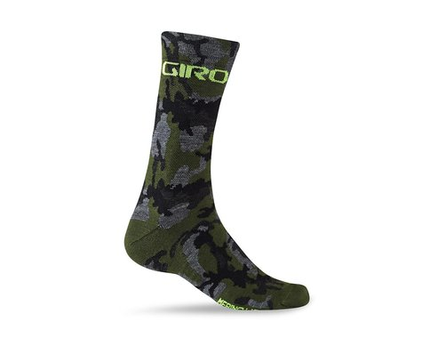 Giro Merino Seasonal Wool Socks (Camo/Highlight Yellow) (L)