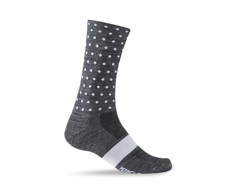 Giro Merino Seasonal Wool Socks (Charcoal/White Dots) (XL)