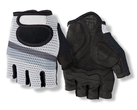 Giro SIV Retro Short Finger Bike Gloves (White/Grey Stripe) (L)