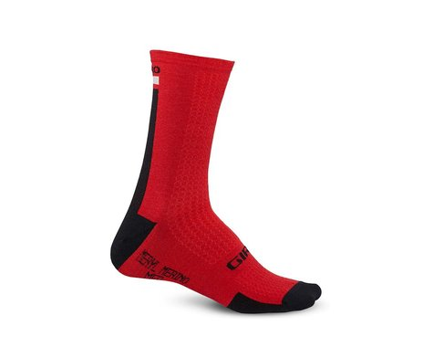 Giro HRc+ Merino Wool Socks (Dark Red/Black/Grey) (L)