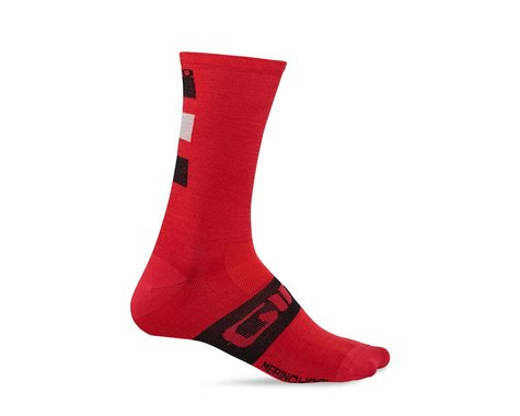 Giro Merino Seasonal Wool Socks (Dark Red/Black/Gray) (L)