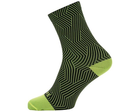 Gore Wear C3 Mid Socks (Neon Yellow/Black) (L)