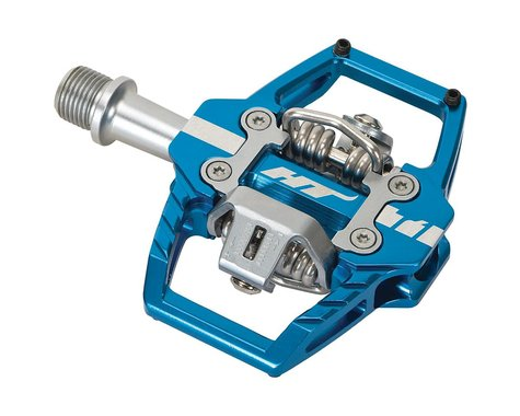 "HT T1 Enduro Race Pedals - Dual Sided Clipless with Platform, Aluminum, 9/16"", M"