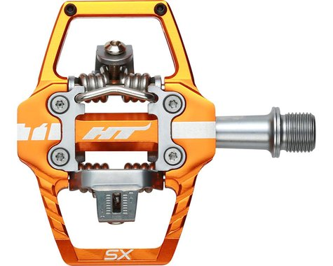 "HT T1-SX BMX-SX Pedals - Dual Sided Clipless with Platform, Aluminum, 9/16"", Ora"