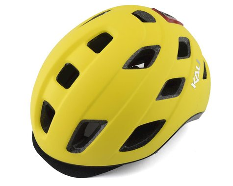 Kali Traffic Helmet (Solid Matte Yellow) (Built-In Light) (S/M)