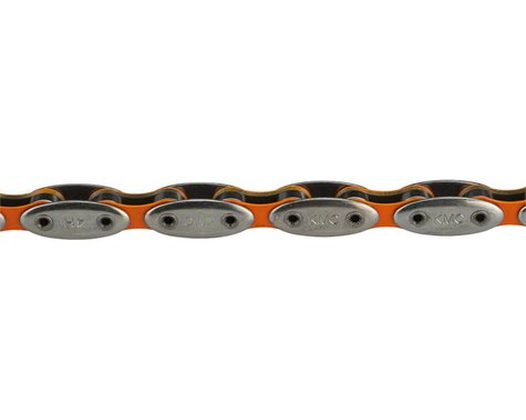 "KMC City Hunter Chain - Single Speed 1/2"" x 1/8"", 112 Links, Silver/Orange"