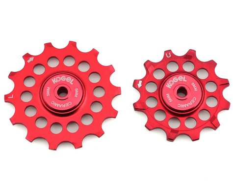 Kogel Bearings Oversized Pulleys for Shimano 9100 & 8000 Series (Red)