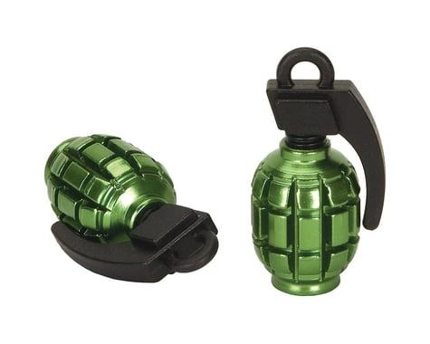Black Ops Hand Grenade Valve Caps (Schrader) (Green/Black)