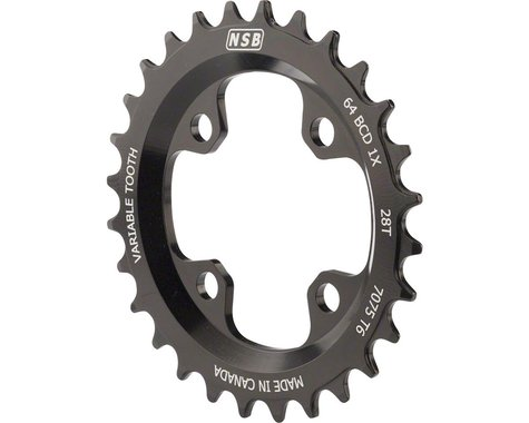 North Shore Billet Variable Tooth Chainring (Black) (64mm BCD) (28T)