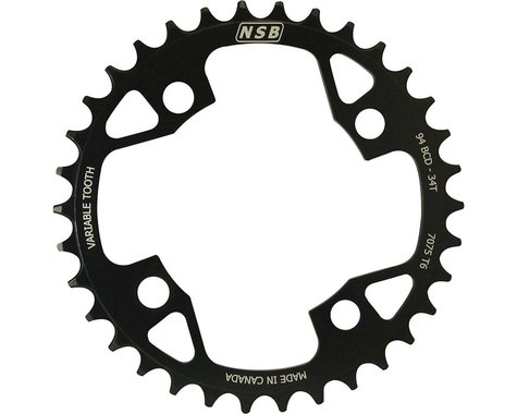 North Shore Billet Variable Tooth Chainring (Black) (94mm BCD) (34T)