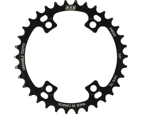 North Shore Billet Variable Tooth Chainring (Black) (96mm Asym BCD) (36T)