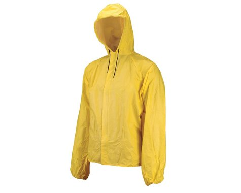 O2 Rainwear Hooded Rain Jacket w/ Drop Tail (Yellow) (L)