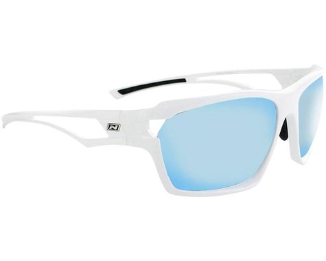 Optic Nerve Variant Sunglasses (Shiny White) (Smoke Blue Mirror Lens)