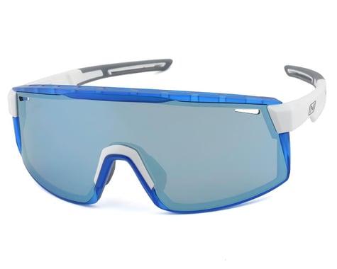 Optic Nerve Fixie Max Sunglasses (Shiny White/Crystal Blue) (Brown/Blue Mirror Lens)