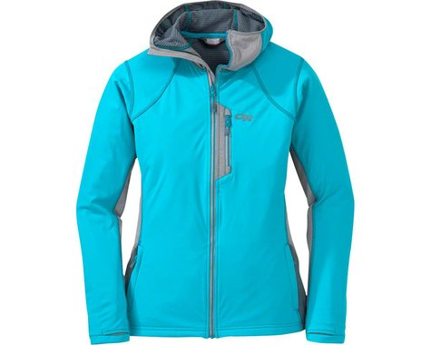 Outdoor Research Centrifuge Women's Hooded Jacket (Pewter Gray/Typhoon Blue) (S)