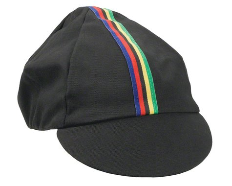 Pace Sportswear Traditional Cycling Cap (Black/World Champion Stripe) (M/L)