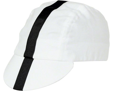 Pace Sportswear Classic Cycling Cap (White w/ Black Tape) (M/L)