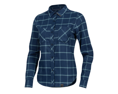 Pearl Izumi Women's Rove Long Sleeve Shirt (Navy/Aquifer Plaid) (S)