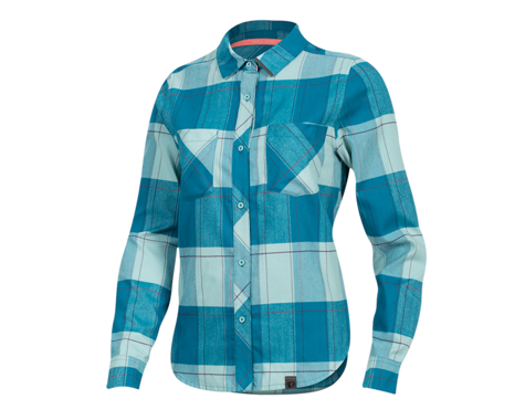 Pearl Izumi Women's Rove Long Sleeve Shirt (Teal/Aquifer Plaid) (L)