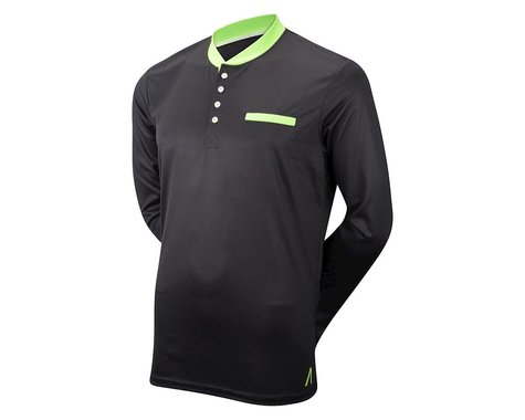 Primal Wear Midnight Black Henley Long Sleeve Jersey (Black) (Xxlarge)