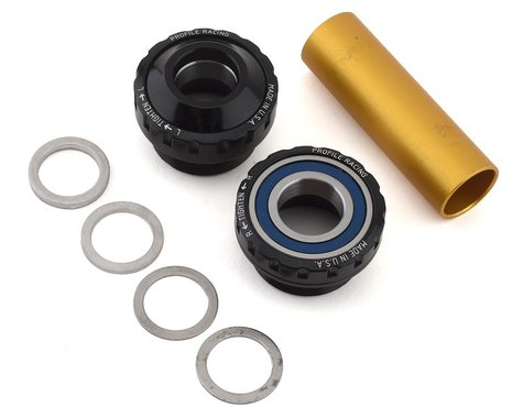 Profile Racing External European Bottom Bracket Kit (Black) (19mm)