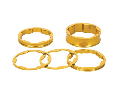 """Promax 1-1/8"""" Stem Spacer Kit 10-5-3-1mm Spacers Gold"""