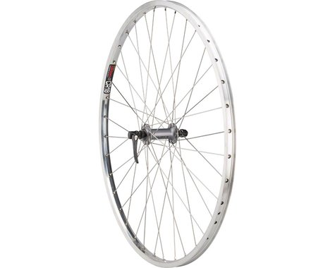 "Quality Wheels CR-18 Polished Front Wheel - 26"", QR x 100mm, Rim Brake, Silver,"