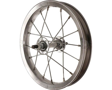 """Sta-Tru Front Wheel 12"""" Silver Steel Rim, Solid Axle, and 20"""" Spokes, Includes A"""