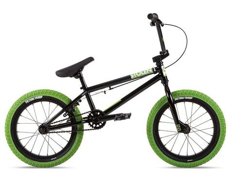 """Stolen 2021 Agent 16"""" BMX Bike (16.25"""" Toptube) (Black/Neon Green)"""