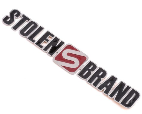 Stolen Brand Metal Badge (Flat) (Platinum/Red)