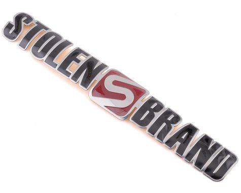 Stolen Brand Metal Badge (Arched) (Platinum/Red)