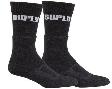 Surly Tall Logo Wool Sock (Black) (L)