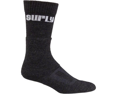 Surly Tall Logo Wool Sock (Black) (M)
