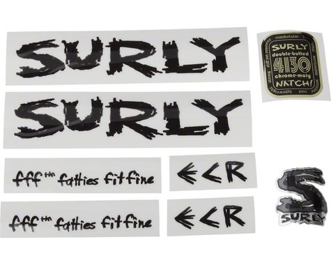 Surly ECR Frame Decal Set: Black