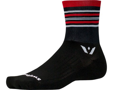 Swiftwick Aspire Stripe Four Sock (Black/Red)