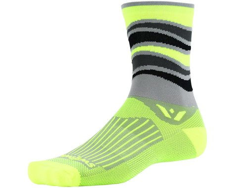 Swiftwick Vision Five Wave Sock (Gray/Yellow) (XL)