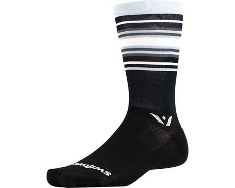 Swiftwick Aspire Stripe Seven Sock (Black/Silver/Gray)