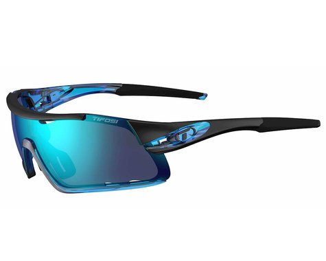 Tifosi Davos Sunglasses (Crystal Blue) (Clarion Blue, AC Red & Clear Lenses)