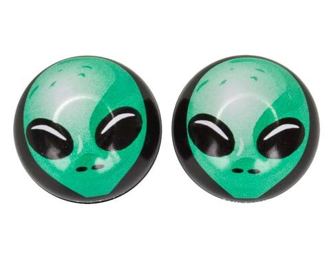 """Trik Topz """"Alien"""" Schrader Valve Stem Caps (Green) (2)"""