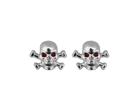 "Trik Topz ""Skull & Bone"" Schrader Valve Stem Caps (Chrome) (2)"