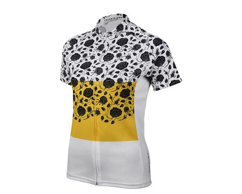 Twin Six Women's The Martyr Short Sleeve Jersey (Yellow/White) (Xsmall)