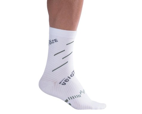 VeloToze Active Compression Cycling Sock (White/Grey) (S/M)