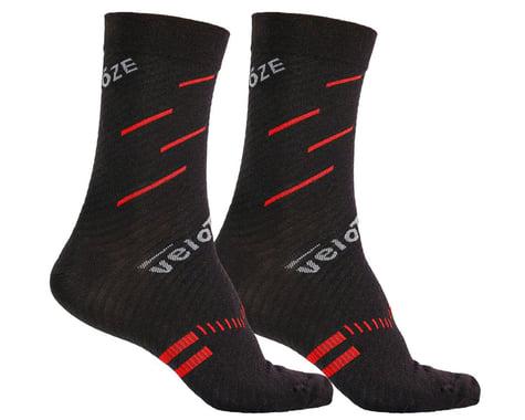 VeloToze Active Compression Wool Socks (Black/Red) (L/XL)